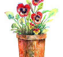 Pansies In A Clay Pot by arline wagner