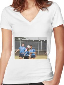 Students play Rugby Women's Fitted V-Neck T-Shirt