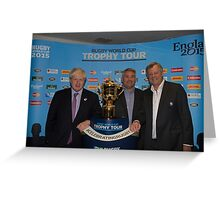 Boris Johnson with the Webb Ellis Trophy cup Greeting Card
