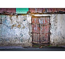 Blue door in the white wall Photographic Print