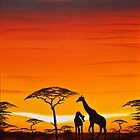 Giraffes at Dawn by Shirley Shelton