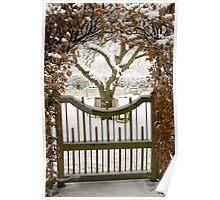 Garden gate in snow Poster