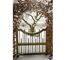 Garden gate in snow Photographic Print