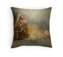 Brian asked the butterfly...... Throw Pillow