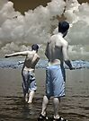 2 Boys Skipping Stones by Debbie Pinard