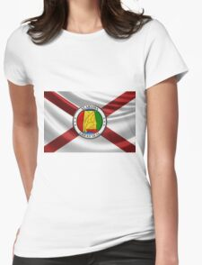 Alabama State Seal over State Flag Womens Fitted T-Shirt