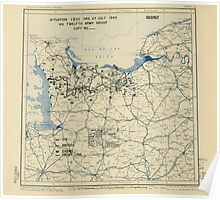 World War II Twelfth Army Group Situation Map July 27 1944 Poster
