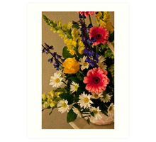 Flower Basket on Table- Photo Enhanced Painter Art Print