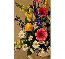 Flower Basket on Table- Photo Enhanced Painter Photographic Print