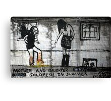 Mother and Daughter Dancing on Goldfish in Summer, 2011, Acrylic on Paper, Justin Curfman Canvas Print