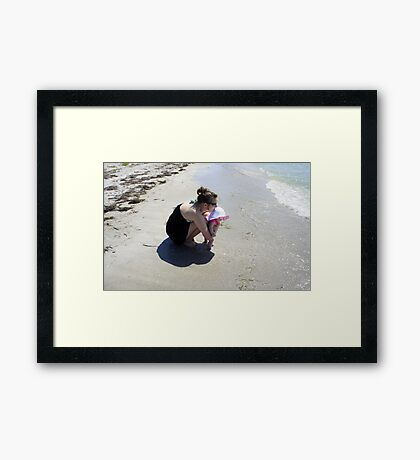Mommy and Baby at the beach Framed Print