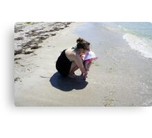 Mommy and Baby at the beach Canvas Print