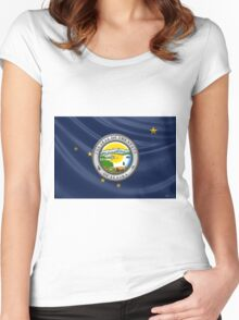 Alaska State Seal over State Flag Women's Fitted Scoop T-Shirt