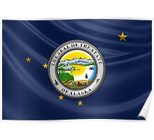 Alaska State Seal over State Flag Poster