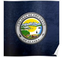 Alaska State Seal over Blue Velvet Poster