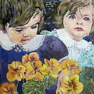 twins and nasturtiums by pamfox
