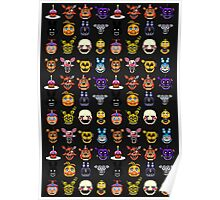 Five Nights at Freddy's - Pixel art - Multiple characters Poster