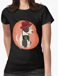 Funny cool Hipster Puppy Dog Womens Fitted T-Shirt
