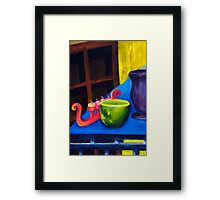 Lounge Room Junk - yellow and blue Framed Print