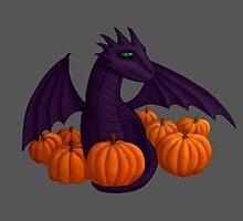 Little Purple Dragon with Pumpkin Hoard by shaneisadragon