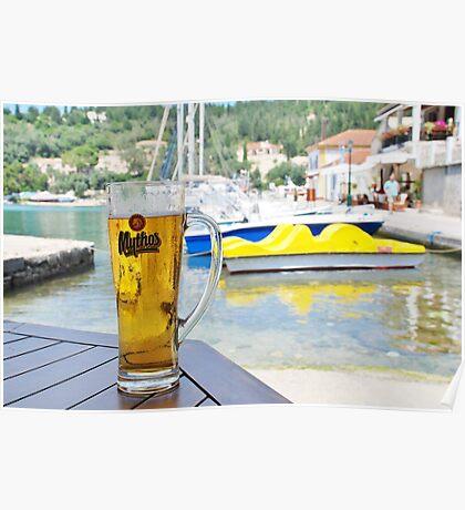 Mythos beer at Lakka, Paxos Poster