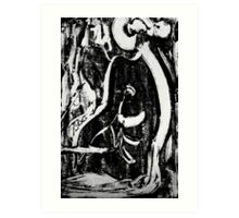 Nude Woman Sitting - Ink on Glass Art Print