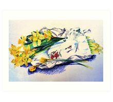 Daffodils & Paper - illustration Art Print