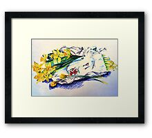 Daffodils & Paper - illustration Framed Print