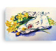 Daffodils & Paper - illustration Canvas Print