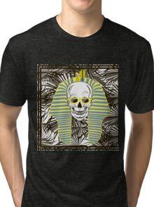 Skull Pharaoh, Day of The Dead, Vintage Vector illustration Tri-blend T-Shirt