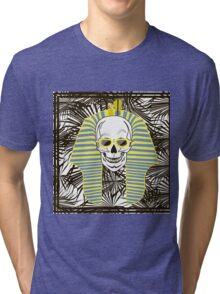 Skull Pharaoh, Day of The Dead, Vintage Vector illustration Tri-blend T-Shirt