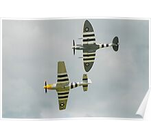 Spitfire and Mustang fighters Poster