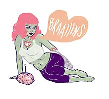 Zombie Pin-up – she loooves brains! Photographic Print