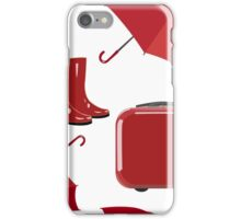Red umbrella, suitcase, rubber boots. Autumn seamless background. Vector pattern for fabric, wallpaper, clothing, packaging. iPhone Case/Skin