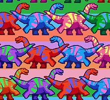 Rainbow Pixelsaurs by Swirlything