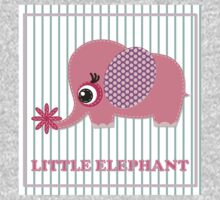 Cute girl elephant illustration for apparel or other uses,in vector. Baby showers, parties for baby girls. One Piece - Long Sleeve