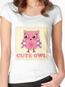 Cute girl owl illustration for apparel or other uses,in vector. Baby showers, parties for baby girls. Women's Fitted Scoop T-Shirt