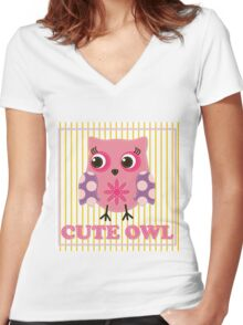 Cute girl owl illustration for apparel or other uses,in vector. Baby showers, parties for baby girls. Women's Fitted V-Neck T-Shirt