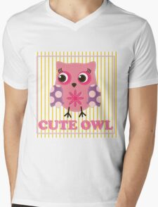 Cute girl owl illustration for apparel or other uses,in vector. Baby showers, parties for baby girls. Mens V-Neck T-Shirt