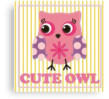 Cute girl owl illustration for apparel or other uses,in vector. Baby showers, parties for baby girls. Canvas Print