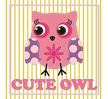 Cute girl owl illustration for apparel or other uses,in vector. Baby showers, parties for baby girls. Photographic Print