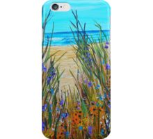 Beach Flowers, impressionism art, ocean painting, home decor, wall art iPhone Case/Skin