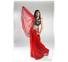 Indian girl in red sari Poster