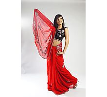Indian girl in red sari Photographic Print