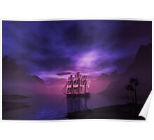 Clipper Ship at Sunset Poster