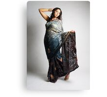 Indian girl in blue sari Canvas Print