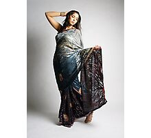 Indian girl in blue sari Photographic Print