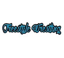 Freestyle Wrestling Blue Photographic Print