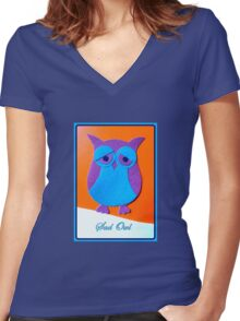 Sad Owl Women's Fitted V-Neck T-Shirt