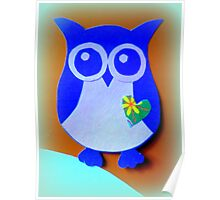 Owl with Heart Poster
